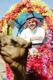 Les conduites d'homme ont décoré le chameau image stock