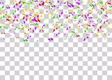 Les confettis déjouent le fond transparent Images libres de droits