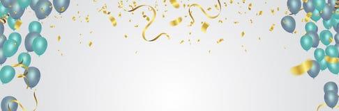 Les confettis montent en ballon l'illustration Ruban de drapeau de confettis et de rubans illustration stock
