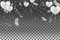 Les confettis montent en ballon le blanc et marquent des rubans au-dessus du mur blanc de tuile, il illustration stock
