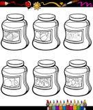 Les confitures dans des pots ont placé livre de coloriage de bande dessinée Image stock