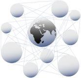 Les connexions joignent la terre de sphère dans le réseau global Photographie stock libre de droits