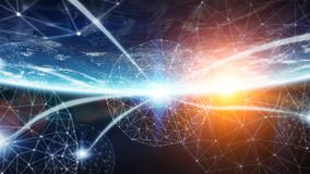Les connexions système et les échanges de données sur terre 3D de planète rendent Images libres de droits