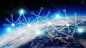 Les connexions système et les échanges de données sur terre 3D de planète rendent Image stock