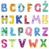 Les consonnes de l'alphabet latin aiment différents monstres illustration libre de droits