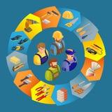 Les constructeurs dans l'uniforme, professionnel usine les icônes isométriques Photo stock