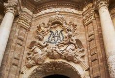 Les constructions historiques avec la dentelle affronte l'Espagne photos stock