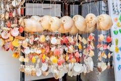 Les coquillages et les étoiles de mer se sont attachés par la collection de ficelle du divers ornement coloré photographie stock libre de droits