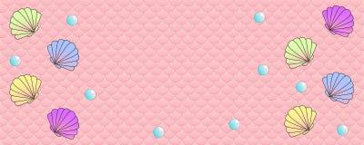 Les coquilles et les perles de palourde sur l'échelle de poissons rose modèlent le fond illustration libre de droits