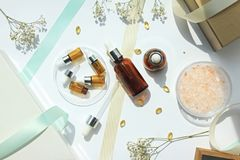 Les cosmétiques met le récipient en bouteille, cadeau de beauté réglé pour la promotion des ventes image libre de droits