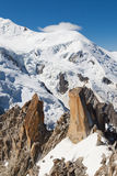 Les Cosmiques and Dome du Gouter Stock Photography