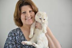 Les écossais beiges plient le chat dans les mains des femmes Photographie stock