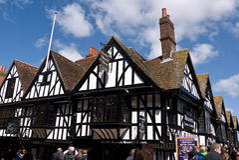 Les cottages de tisserands à Cantorbéry Kent Images stock