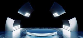 Les couleurs vibrantes bleues au néon futuristes modernes de Sci fi avec l'étape vide Hall Glowing With Big White de cercle allum illustration libre de droits