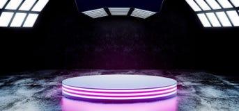 Les couleurs vibrantes bleues de pourpre au néon futuriste moderne de Sci fi avec l'étape vide Hall Glowing With Big White de cer illustration stock