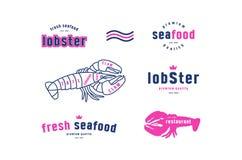 Les coupes courantes de homard de vecteur diagram et marquent pour la boutique de fruits de mer Photo libre de droits