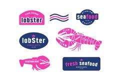 Les coupes courantes de homard de vecteur diagram et marquent pour la boutique de fruits de mer Image libre de droits