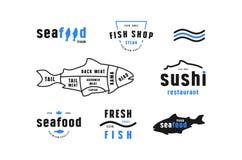 Les coupes courantes de poissons de vecteur diagram et marquent pour la boutique de fruits de mer Image libre de droits