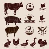 Les coupes de viande, envoient à la boucherie de rétros emblèmes et ensemble de labels Images libres de droits