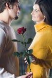 Les couples à la datte avec ont monté Image libre de droits