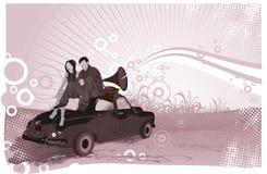 Les couples écoutent musique illustration stock
