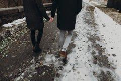 Les couples élégants de hippie marchant tenant des mains en automne se garent FLB Photos libres de droits