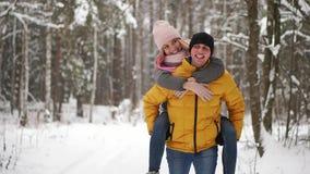 Les couples affectueux heureux marchant dans la forêt neigeuse d'hiver, dépensant Noël vacation ensemble Activités saisonnières e banque de vidéos