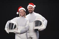 Les couples avec plaisir des cosmonautes expriment l'amorousness Image stock