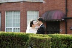 Les couples chinois asiatiques dans la robe de mariage se tiennent dans les buissons Photos stock