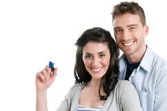 Les couples écrivent votre texte Images stock