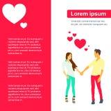 Les couples d'amour entendent Valentine Day Gift Card Flat Photo libre de droits