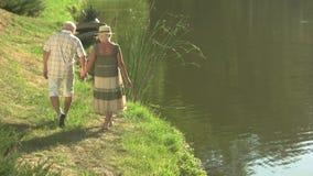 Les couples d'une manière amusante des aînés s'approchent de l'eau banque de vidéos