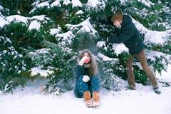 Les couples dans l'amour en hiver Photo libre de droits
