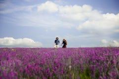 Les couples dans l'amour marchant sur une lavande mettent en place Photographie stock libre de droits
