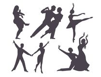 Les couples dansant la personne et les personnes romantiques latino-américaines de silhouette dansent l'homme avec le divertissem Photos stock