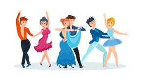 Les couples dansent des danses modernes : tango passionné, valse douce, beau ballet Images stock