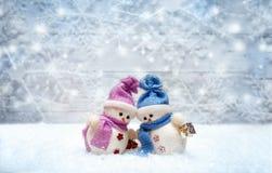 Les couples de bonhomme de neige ont placé les uns contre les autres avec des flocons de neige sur le CCB Image stock