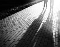 Les couples de marche noirs et blancs dans le coucher du soleil garent le contexte de bokeh Image libre de droits