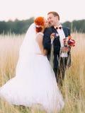 Les couples de mariage d'Enloved apprécient un moment de bonheur et regardent affectueusement l'un l'autre sur le champ de blé Images stock