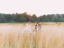Les couples de mariage dans l'amour apprécient un moment de bonheur sur le champ de blé, appréciant le jour de mariage ensemble Photos libres de droits
