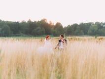 Les couples de mariage dans l'amour apprécient un moment de bonheur sur le champ de blé, appréciant le jour de mariage ensemble Images libres de droits