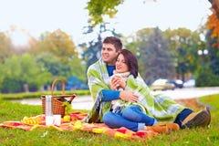 Les couples heureux appréciant l'automne pique-niquent en parc de ville Photographie stock