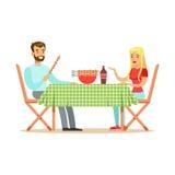 Les couples heureux appréciant le barbecue, l'homme gai et les caractères de femme à un pique-nique dirigent l'illustration illustration stock