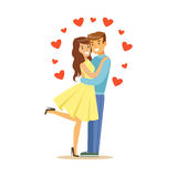 Les couples heureux dans l'amour, l'homme et la femme s'embrassant, les caractères colorés de date romantique dirigent l'illustra Image libre de droits