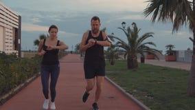 Les couples heureux des sportifs fonctionnent dans le secteur de parc au crépuscule, contre l'homme et à la femme clips vidéos