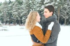 Les couples heureux extérieurs dans l'amour posant en hiver froid survivent Images stock