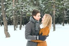 Les couples heureux extérieurs dans l'amour posant en hiver froid survivent Photo stock