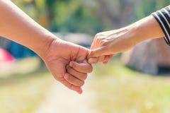 Les couples heureux tenant des mains ensemble comme aiment pour toujours dans Valentine Photo stock