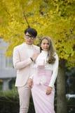 Les couples japonais dans l'amour se tiennent ensemble sous des arbres d'automne Photographie stock