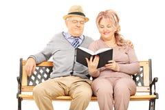 Les couples mûrs ont assis sur le banc en bois lisant un livre Image stock